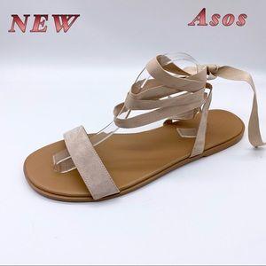 NEW-ASOS-Blush Nude Wrap Around Ankle Sandal 10